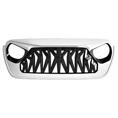 $136 • Buy Front Bumper Shark Grille Guard For 2018-2019 Jeep Wrangler JL ABS Black&White