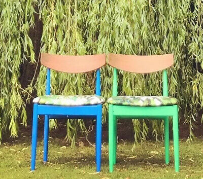 Pair 1950's Retro Vintage G Plan Upholstered Chairs Designers Guild Fabric • 120£