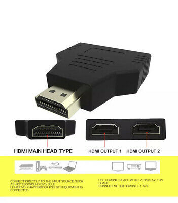 U.K 1 In2 1080P HDMI Converter Male To 2 Female HDMI Out Splitter Cable Adapter • 3.19£
