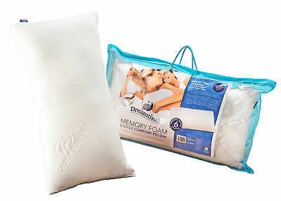 DreamTime MFDT82099HF Memory Foam Choice Comfort Pillow, White Cotton, 69 X 37cm • 7.75£