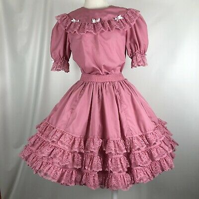 $52 • Buy Square Dance Dress Outfit Partners Please Skirt Blouse Pink Ribbon Lace Trim