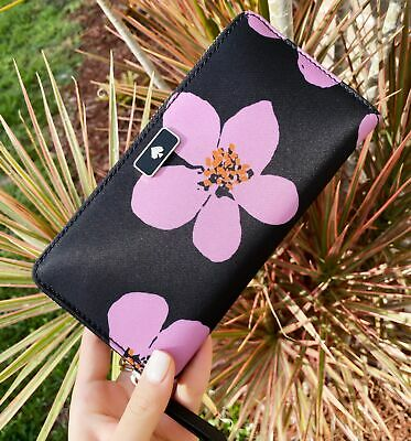 $ CDN119.95 • Buy Kate Spade Dawn Grand Flora Neda Zip Around Continental Wallet Black Pink Floral