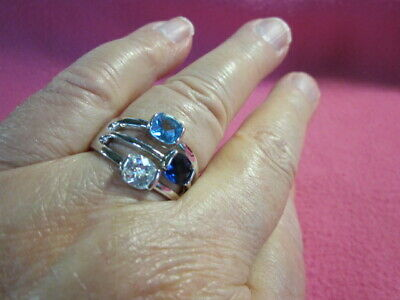 $ CDN59.95 • Buy Lia Sophia 'Blue Bayou'  Ring Sz 11  Three Crystals On Silver Colored Metal New