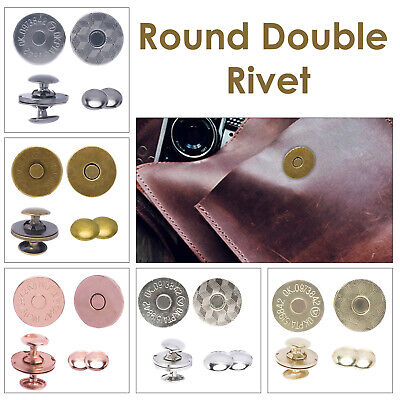 £3.09 • Buy Double Rivet Magnetic Clasps 14/18mm Metal Snaps Round For DIY Craft Projects