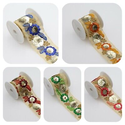 £4.99 • Buy 4.5 Cm Wide 1 M Indian Sequence Embroidered Ribbon Trim Decorative Craft Lace