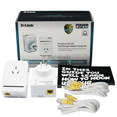 AU49.40 • Buy D-link Dhp-p309av Powerline Av500 Passthrough Network Adapter  Starter Kit Dlink