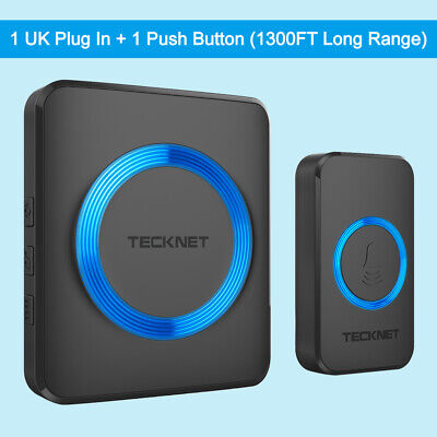 TECKNET Wireless Waterproof Door Bell UK Plug-in Cordless Door Chime Kit 1000ft • 13.99£