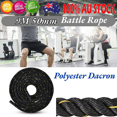 AU94.42 • Buy 50mm 9M Heavy Duty Gym Battle Rope Power Strength Training Exercise Fitness Fi