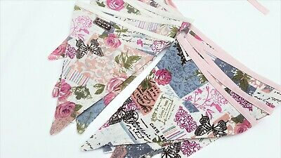 DOUBLE Sided Handmade Fabric Bunting Vintage French Rose Butterfly Cotton • 4.99£