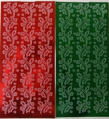 £2.40 • Buy 2 Sheets Of Christmas Holly Borders Peel-offs Red  And Green  6 In Total