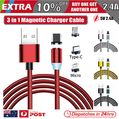 AU9.95 • Buy 3 In 1 Magnetic USB Charger Charging Cable Fit IPhone Micro USB TYPE-C Android
