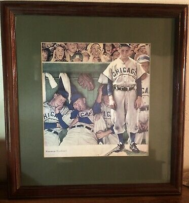 """$ CDN208.54 • Buy Norman Rockwell """"The Dugout"""" Framed & Signed"""