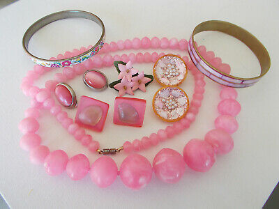 $ CDN49 • Buy Vintage Mixed Jewelry Lot, 7 Pieces, Pretty In Pink Theme Necklace, Bangles More