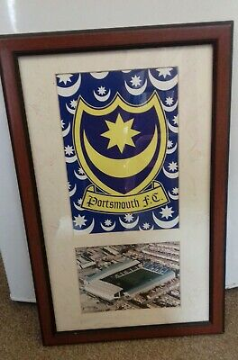 Portsmouth Fc 2002 Championship Winning Team Signed Crest Picture. • 40£