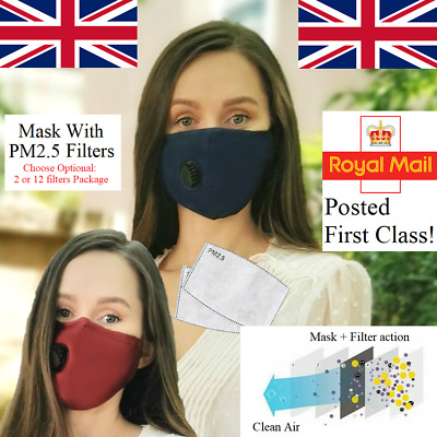 Non Surgical Face Mask Protect Flu Virus Washable Reusable Valve PM2.5  Adult UK • 3.48£