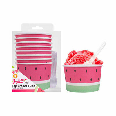 Pack Of 8 Watermelon Paper Ice Cream Tubs Sweet Treat Pudding Bowls With Spoons • 4.39£