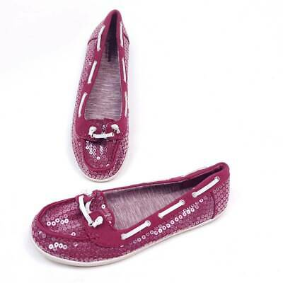 $13.70 • Buy Arizona Jeans Womens 7.5 Boat Shoes Pink Magenta Sequin Moc Toe Lace Up Flats