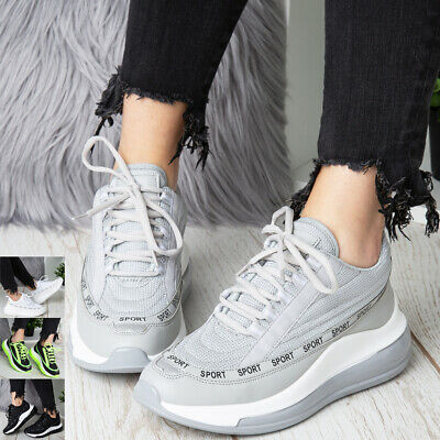 Ladies Wedge Trainers Womens Sneakers Lace Up Comfy Jogging Classic Pumps Shoes • 15.95£
