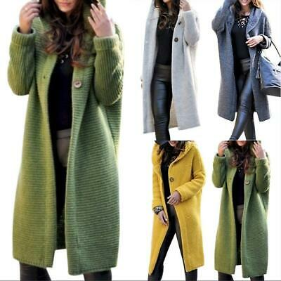 Womens Hoodie Casual Long Sleeve Knitted Cardigan Coat Plus Size Cardigan Button • 16.59£