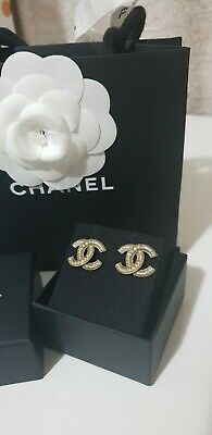 AU650 • Buy *Authentic* Chanel CC Earrings Medium Gold Pearl Embellished Stud Earrings