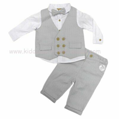 £23.99 • Buy Baby Boys Little Gent Formal Outfit Waistcoat Shirt Bow Tie & Trousers Grey Suit