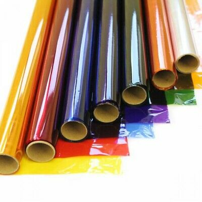 50cm / 80cm Wide Coloured Cellophane Tinted Film Craft Gifts Florist Wrap!! • 2.55£