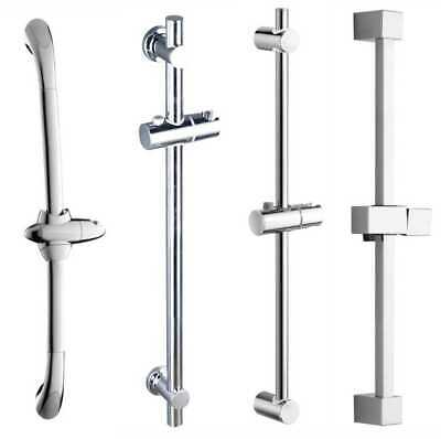 Chrome Adjustable Bathroom Shower Riser Rail Bracket Shower Head Holder Bar Kit • 13.99£