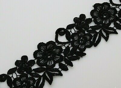 1 Yard 6 Cm Black Cotton And Polyester Mix Satin Thread Lace Trim Sew On • 2.99£