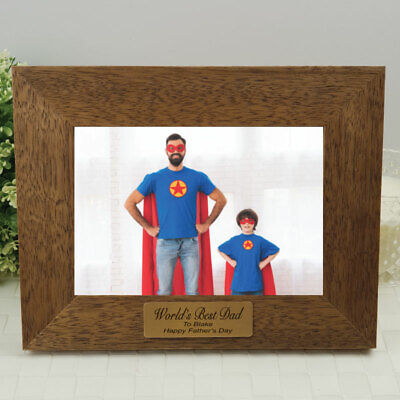 AU45 • Buy Dad Personalised Teak Photo Frame With Gold Plaque - Fathers Day - Dad, Pop, ...