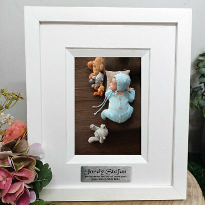 AU45 • Buy Baby Personalised Photo Frame Silhouette White 4x6  - Unique Baby Gift