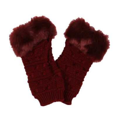 $6.59 • Buy 1Pair Womens Half Finger Gloves Playing Knitted Portable Winter Computer Gloves