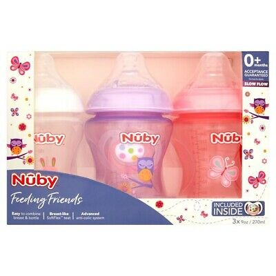 £14.99 • Buy 3 Pack NUBY Feeding Friends Designed Bottles 270ml WITH DUMMY Pink