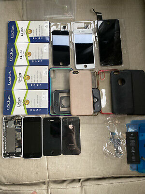 $ CDN110.97 • Buy Apple Lot! IPhone 5C, 4S, Cases And Batteries X4 Two Screens Lots Of Extras!