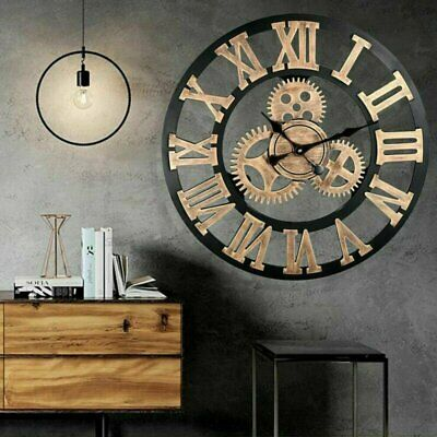 AU38.88 • Buy Vintage Handmade Clock Large Gear Wall Clock Rustic Wooden Luxury Art Home Decor