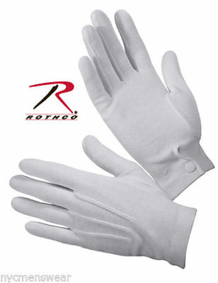 $8.99 • Buy Parade Gloves W/Gripper Dots White Rothco #4411 XS-XL 100% Cotton Snap Wrist