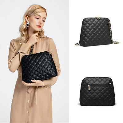 Fashion Ladies Quilted Cross Body Bag Women Chain Faux Leather Handbag • 9.39£