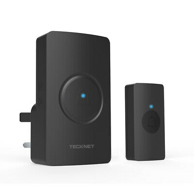 TECKNET Wireless Waterproof Door Bell UK Plug-in Cordless Door Chime Kit 820feet • 11.99£