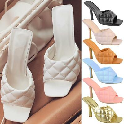 Womens Fashion Designer Sandals Square Toe Padded Heels Party Clubbing Shoes New • 12.99£
