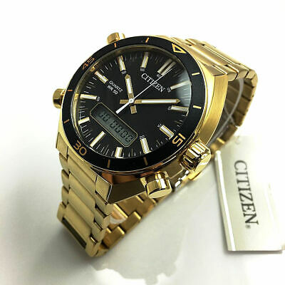 Citizen Sports Ana-digi Mens Watch 50M JM5462-56E Gold Plated Steel UK Seller • 179.95£