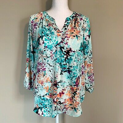 $ CDN30.22 • Buy Ivanka Trump Watercolor Floral Popover Blouse Top Turquoise Coral Womens Medium