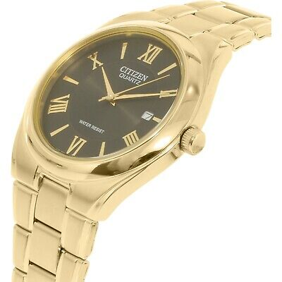 Citizen Mens Quartz Watch Water Resist BI0952-55G Gold Plated Steel UK Seller • 139.95£