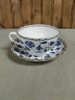 Spode Colonel Blue 2-1/8  Flat Cup And Saucer, Gold Trim • 18.28£