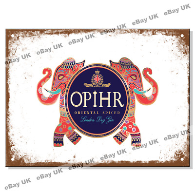 £4.45 • Buy Metal Signs - OPIHR GIN LOGO Retro Wall Plaque Kitchen House Mancave Tin Sign UK