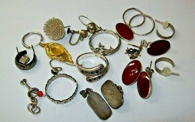 $ CDN8.40 • Buy Job Lot Scrap Sterling 925 Silver  34.9g - Rings Cufflinks Earrings Etc