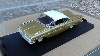 QUARTZO DIECAST 1/43 1959 GOLD CHEVROLET CHEVY IMPALA 4in Diecast Model Boxed • 12.95£