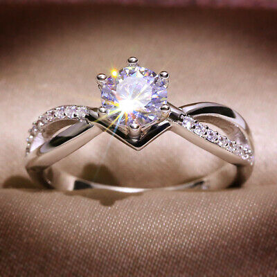 925 Sterling Silver Cubic Zirconia Engagement Ring Women Wedding Rings KYSS04 • 2.65£