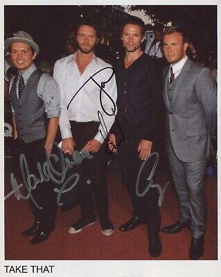 Take That Gary Barlow + 3 FULLY Signed 8  X 10  Photo Genuine In Person COA • 99.99£