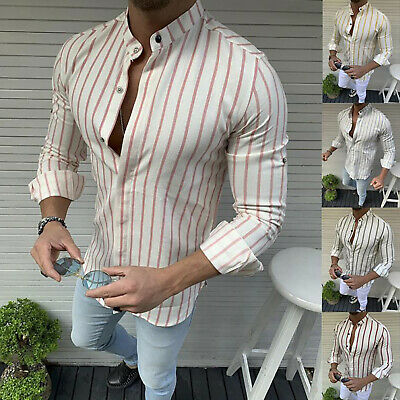 Vintage Mens Collarless Shirts Striped Shirt Grandad Button Casual Pullover Tops • 9.49£