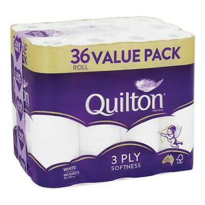 AU29.99 • Buy Quilton 36 Rolls 3ply 180 Sheets Softness Toilet Paper Tissue White AU STOCK