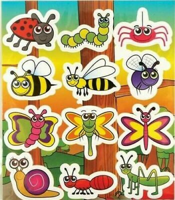 6 Sheets INSECT Stickers Childrens Birthday Party Loot Bag Fillers FREEPOST • 1.29£